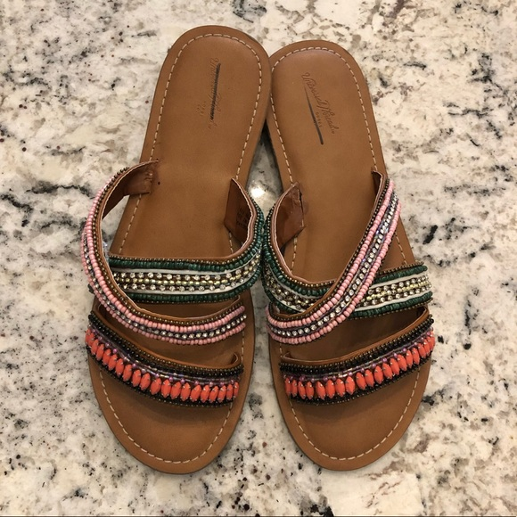 Universal Thread Shoes - Colorful Beaded Sandals. New